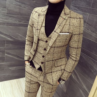 mens three piece set ( men Blazer jacket + Vest + pant ) Plaid stripes mens suits 2019 Asia size S 5XL High quality men suits