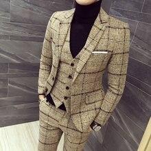 mens three-piece set ( men Blazer jacket + Vest pant ) Plaid stripes suits 2019  Asia size S-5XL High quality