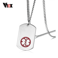 Vnox USA Custom Engraved Medical Alert Necklace With Free Engraving Stainless Steel Tag Pendant Necklace Men
