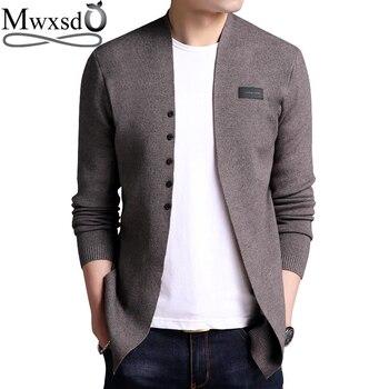 Mwxsd M-6XL Плюс Большой размеры для мужчин повседневное хлопковый кардиган свитер мужской Slim Fit Мягкий Вязаный