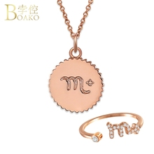 BOAKO Horoscope necklace women statement twelve constellations sign Zodiac charms pendant girl birthday jewelry Z5