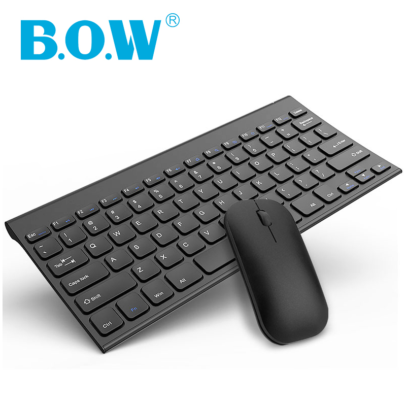 B.O.W Keyboard and Mouse Combo,Quite Design 2.4G Metal Ultra-Slim Wireless Rechargeable Keyboard and mouse for Desktop, Computer