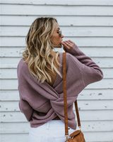 women pullovers loose fashion backless sweater 2018 autumn and winter Christmas OL commuter round neck office lady sweater