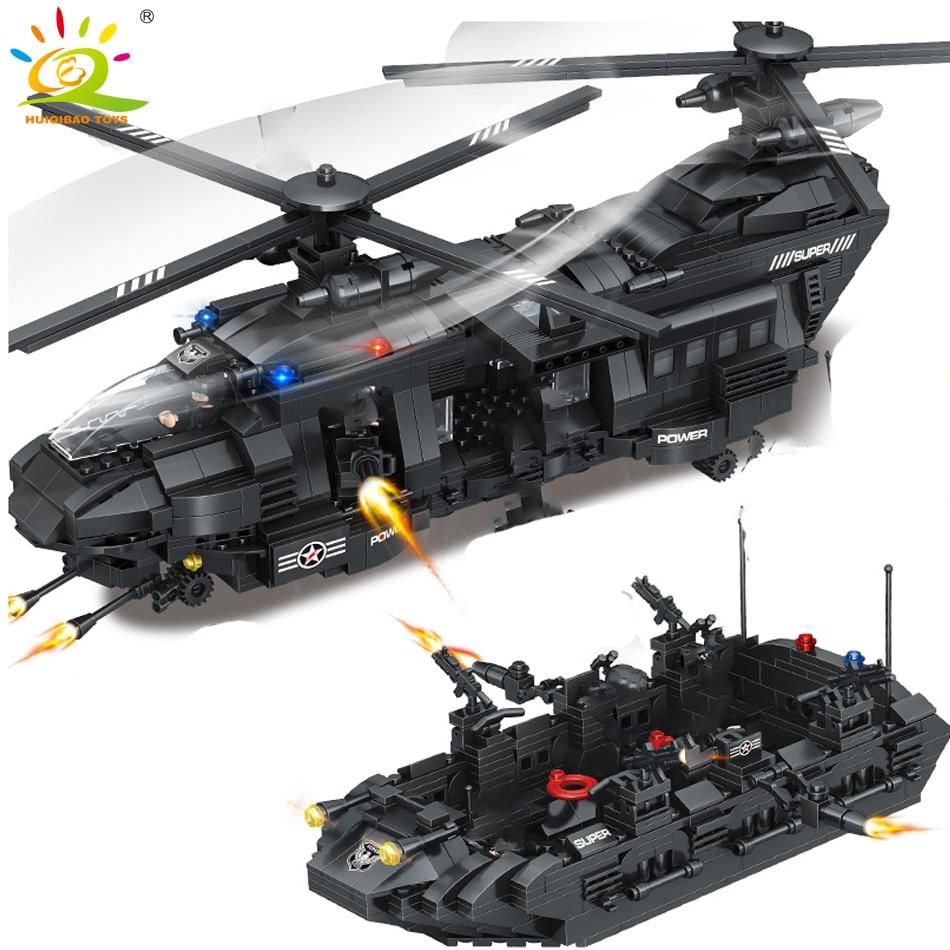 HUIQIBAO 1351pcs Military Swat Team Building Blocks Legoing Transport Helicopter City Army Enlighten Bricks Children