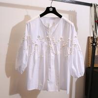 Small fragrant wind open collar women's clothing loose bead women's long sleeved white shirt high waist doll shirt