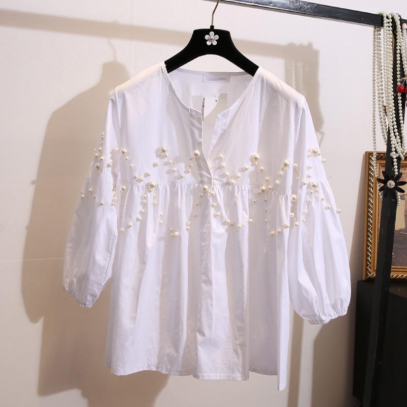 Malé voňavé vítr otevřené límec dámské oblečení volné korálky dámské košile s dlouhým rukávem bílé tričko s vysokým pasem