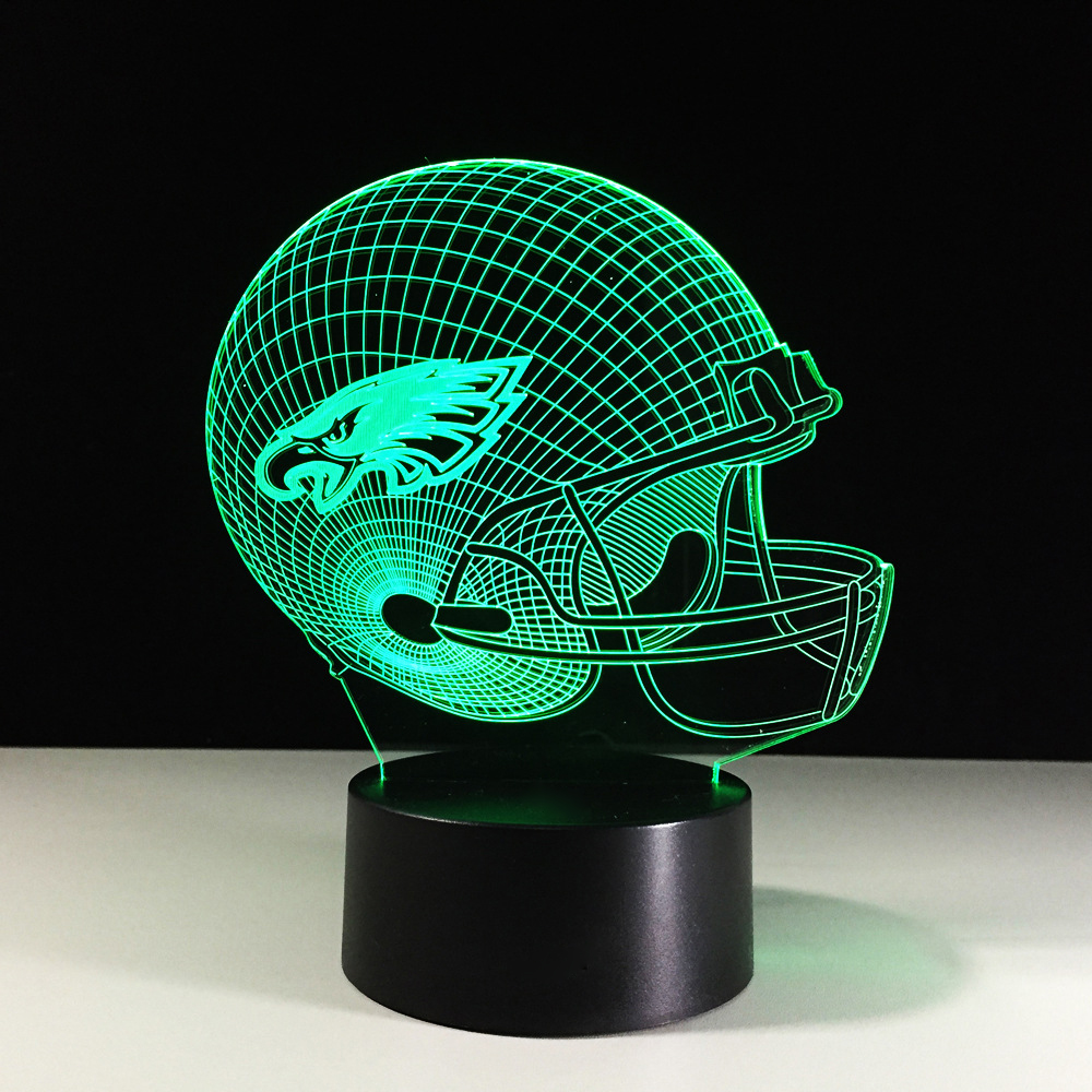 Novelty Football Helmet LED Night Light Color Changing 3D Eagles Table Lamps Kids Gifts Decor Rugby Cap Bedside Lamp Gifts Decor