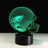 Novelty Football Helmet LED Night Light Color Changing 3D Eagles Table Lamps Kids Gifts Decor Rugby