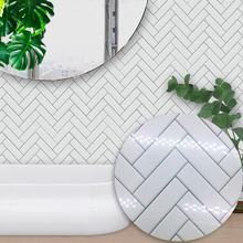 Kitchen Decoration Self Adhesive Waterproof White Chevron Tile Bathroom Furniture Sticker Wall Decal 15*15/20*20cm