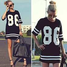 Fashion Summer Women 86 Baseball Oversized Tee T-shirt Top Varsity Loose Dres.s Number Print Short Sleeve long navy T-shirt(China)