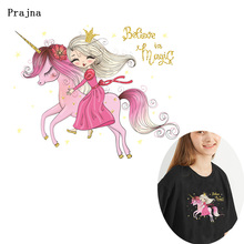 Prajna Princess Unicorn Heat Transfer Ironing Printed Vinyl Thermal Sticker For Clothing Pink Cartoon Animal Applique F
