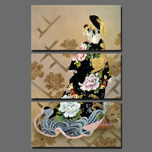 3 pcs Big Size Japan Style Black Kimono Picture decoration Japanese Peony Flowers Canvas Painting wall Art home decor unframed