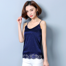 Sexy Fashion Women Tops 2018 Silk Lace Sleeveless Lace Trim Feminine Tops Dot blue Camisole Femme Plus size Clothing plus size cut out lace trim camisole