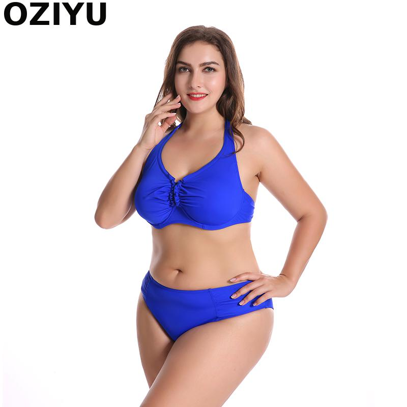F/G/H Cup 6XL Large Size Women Vintage Halter Two Pieces Push-UP Top Bathing Suit Swimwear Underwire Bikinis Set Womens