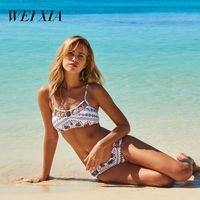 WEIXIA 2018 NEW Arrival Sexy Bikini Set Print Swimsuit 9044 Women High Waist Bikini Set Padded