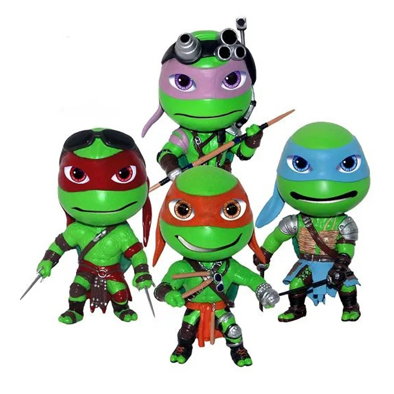 Classic Movie Anime Figurine <font><b>Teenage</b></font> <font><b>Mutant</b></font> <font><b>Ninja</b></font> <font><b>Turtles</b></font> 2 TMNT Leo <font><b>Raph</b></font> Mikey Don PVC <font><b>Action</b></font> Figure Model Toy 12cm 4PCS/Set