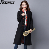 Women S Trech Cardigan Cotton Female Jacket Autumn Floral Coat Windbreaker Fall Chinese Style Cardigan Kimono