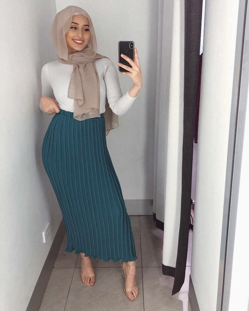 Fashion Women's Pleated Skirt Chiffon Long Skirt Princess Elegant Modest Muslim Bottoms Ankle-Length Party Islamic Clothing