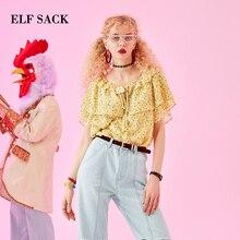 ELFSACK yaz çiçek Slash boyun kadınlar bluzlar moda rahat kelebek kol kadın gömlek 2019 Prairie şık kadın giyim