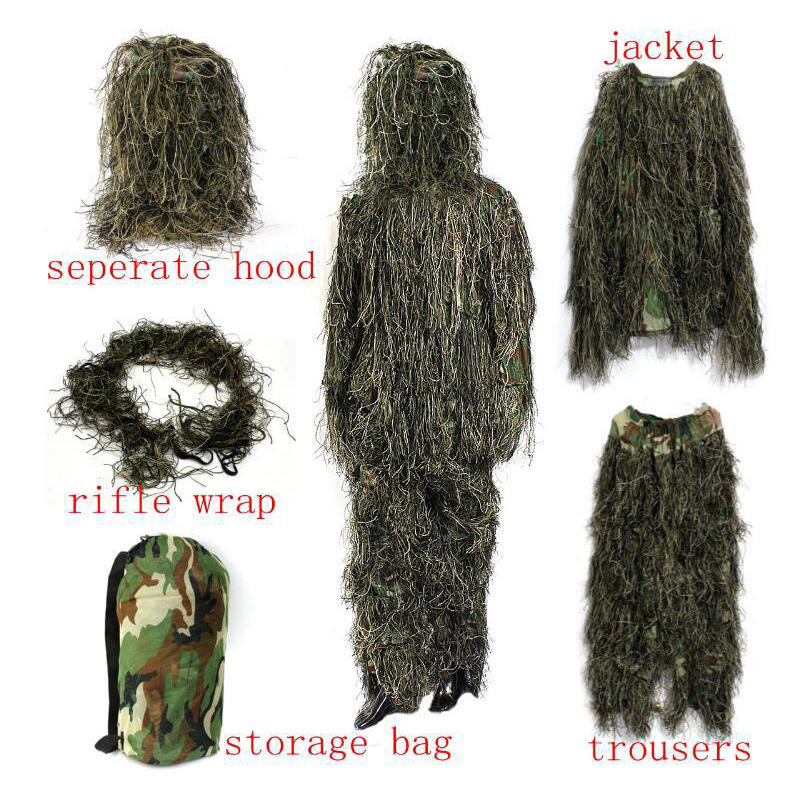 Jungle Camouflage Geely Set Imitate Grass Hunting Invisible Clothes Outdoor Grass Hide CS Sniper Suit Set