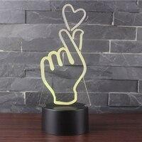 3D Trực Quan Romantic Led Cử Chỉ Hình Trái Tim Bảng Ánh Sáng Ban Đêm đèn Nút Cảm Ứng Ánh Sáng Lịch Thi Đấu Usb Bé Ngủ Nội Thất Ánh Sáng trang trí nội thất