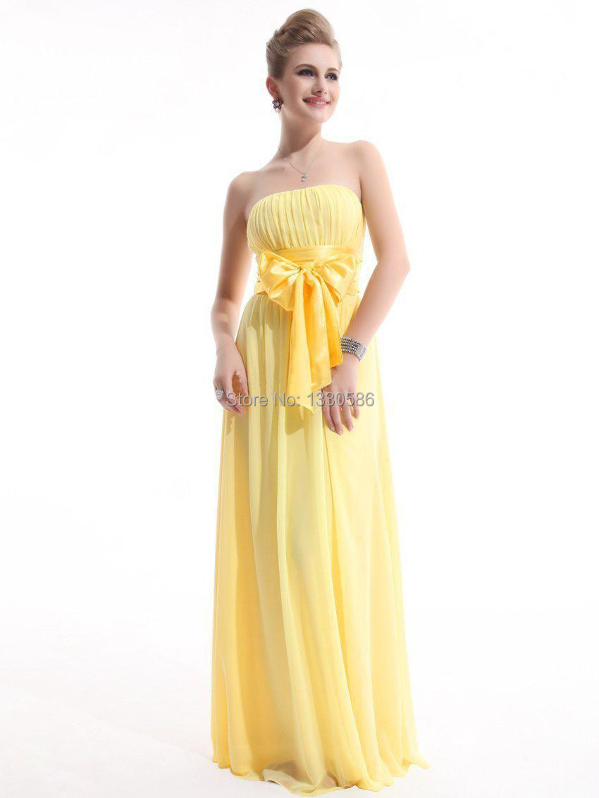 Online get cheap bridesmaid dresses pink yellow aliexpress 2017 free shipping custom made new simple yellow pink champagne strapless chiffon pleat sexy bow long bridesmaid dresses ombrellifo Choice Image