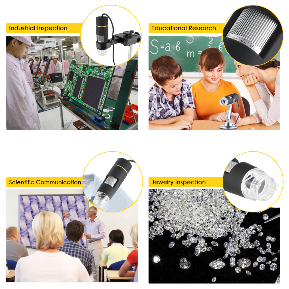 Toolso USB Electronic Microscope 0.3MP 1000X 8LED Digital Microscope Camera Endoscope OTG Function Zoom Video Magnifier Stand