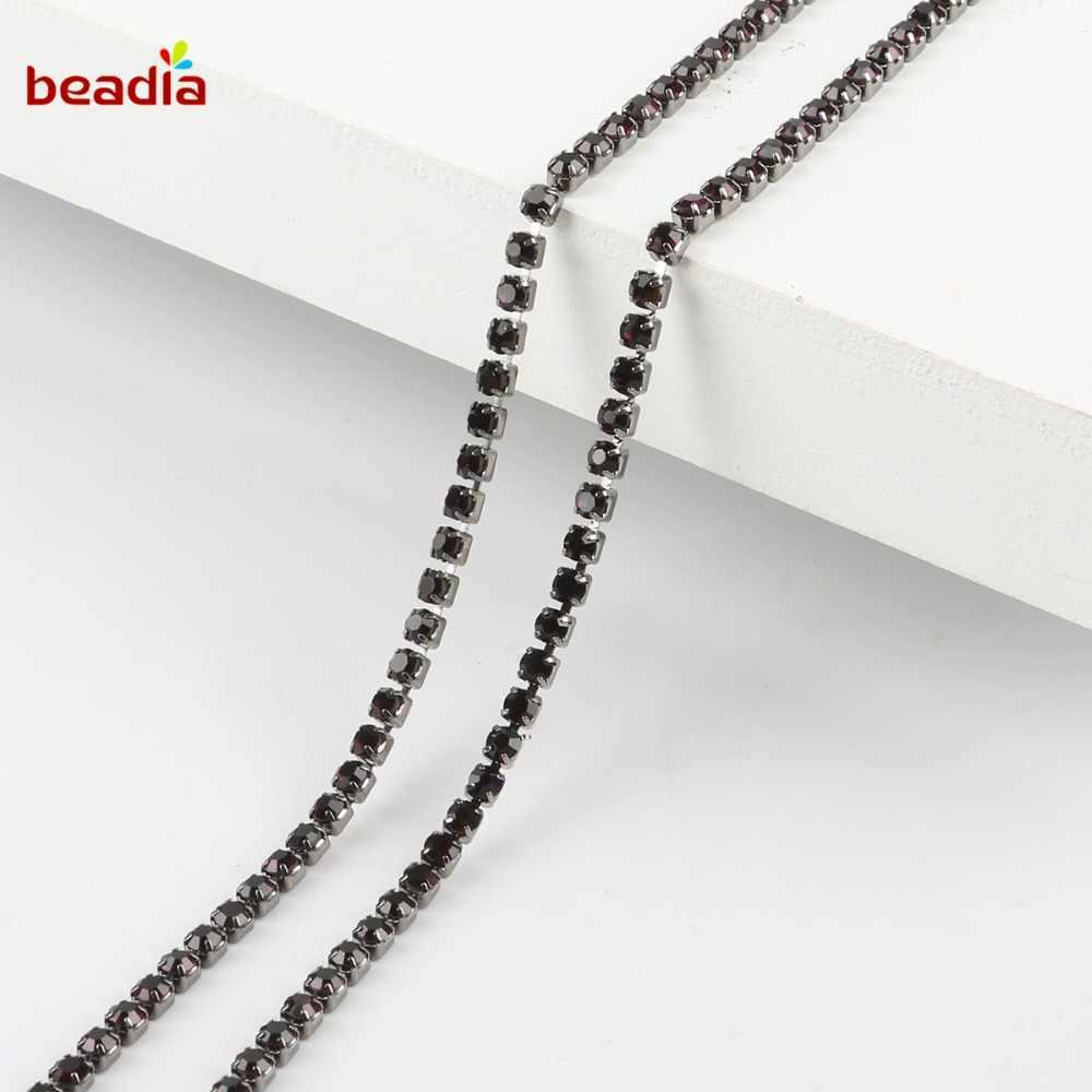 Venda quente 2/2. 5/2. 8/3mm preto base de alta densidade flatback roxo escuro strass corrente para decoração artesanato costura roupas acessórios