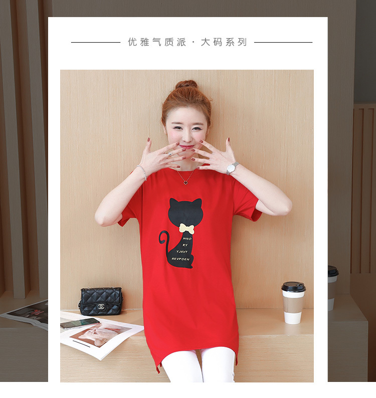 2018 Large size Women T-shirt dress summer Short sleeve Cats print Top Tees Casual O-neck Loose Female Tshirt Plus size 5XL J215 8