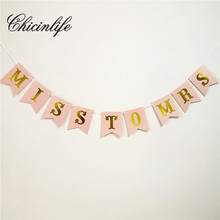 Chicinlife 1Set Miss To Mrs Bunting Banner Bridal Shower Garland Props Bachelorette Hen Night Party banner Wedding Decoration
