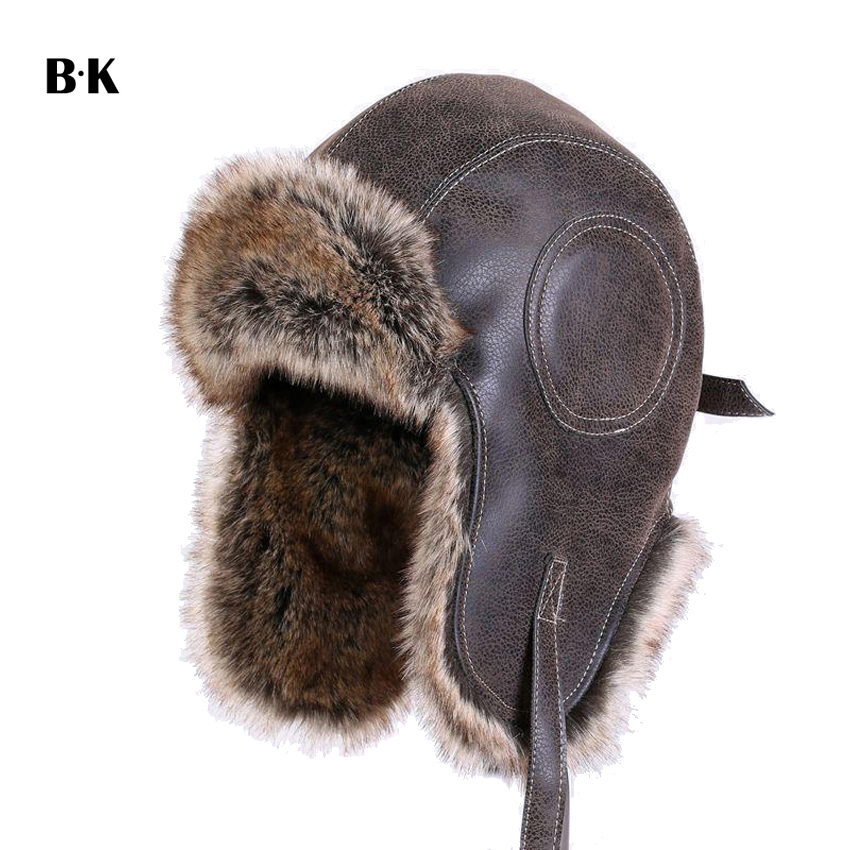 Faux Leather Fur Winter Warm Plush Earflap Bomber Hats Men Women's Russian Trapper Hat Aviator Trooper Snow Caps