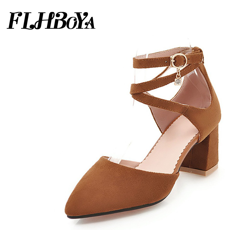 2018 New Women Summer Ankle Cross strap Square Heels Sandals Woman Pointed Toe Shoes High Block Heels Kid Suede Sweet Lady Pumps daidiesha pu leather high heels shoes women pointed toe glitter pumps elegant party wedding lady block heels ankle strap shoes