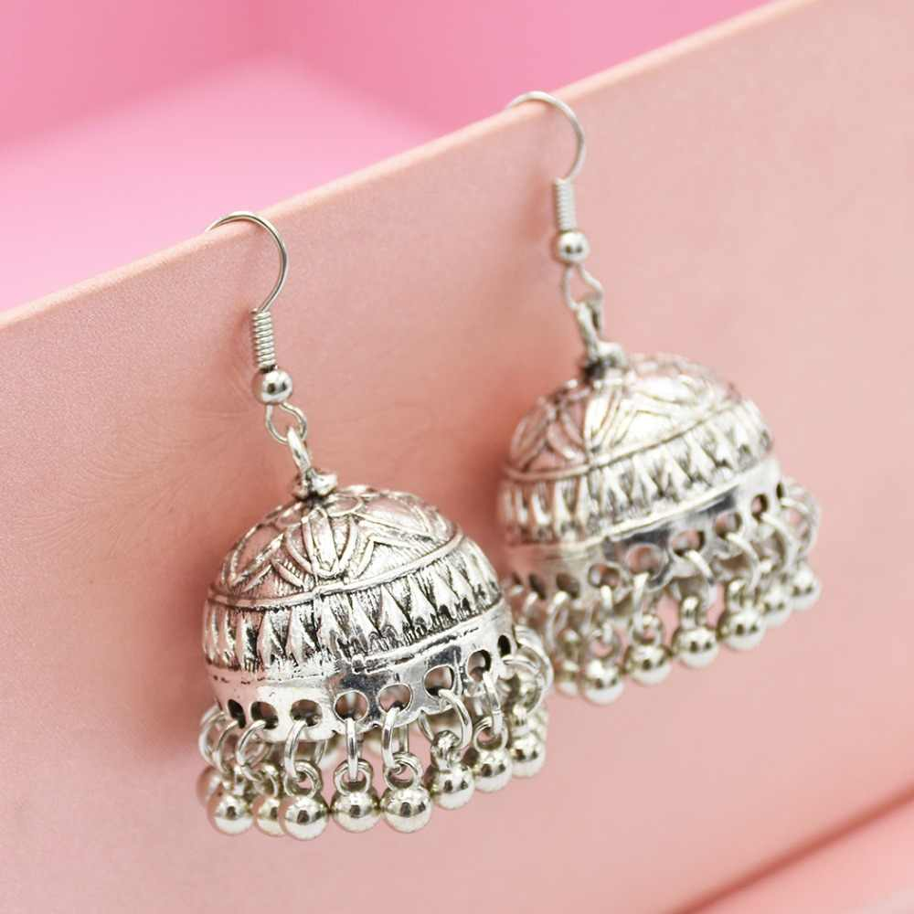 Ethnic Style India Jhumka Tassel Drop Earrings Silver Alloy Lotus Bell Pendant Earring Gypsy Tribal Boho Turkish Vintage Jewelry