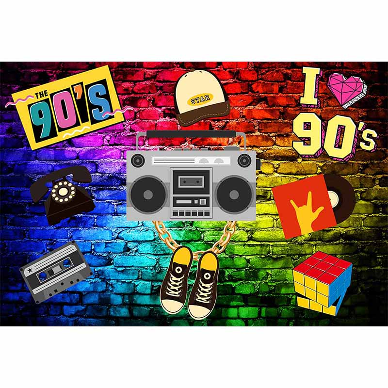 Music Theme Background 90s for Party Graffiti Photography Backdrop 90s Theme Decoration Rock Polyester Cloth in Background from Consumer Electronics