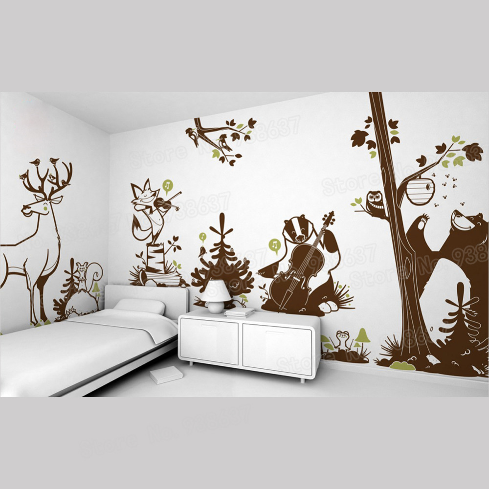 Woodland Animal Vinyl Wall Stickers Kids Room Removable Cute Bear Deer Wall Decals Living Room Home Decor Creative Mural ZB570