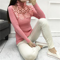 Свитер женщины весна осень зима 2016 бермуды feminina пуловеры женщины выдалбливают розовый белый кружева вязать свитер женский A0949