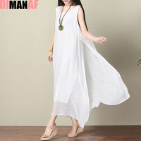 DIMANAF Women Dress Plus Size Summer Linen Sleeveless Sundress Split Solid Holiday Beach Female White Fashion