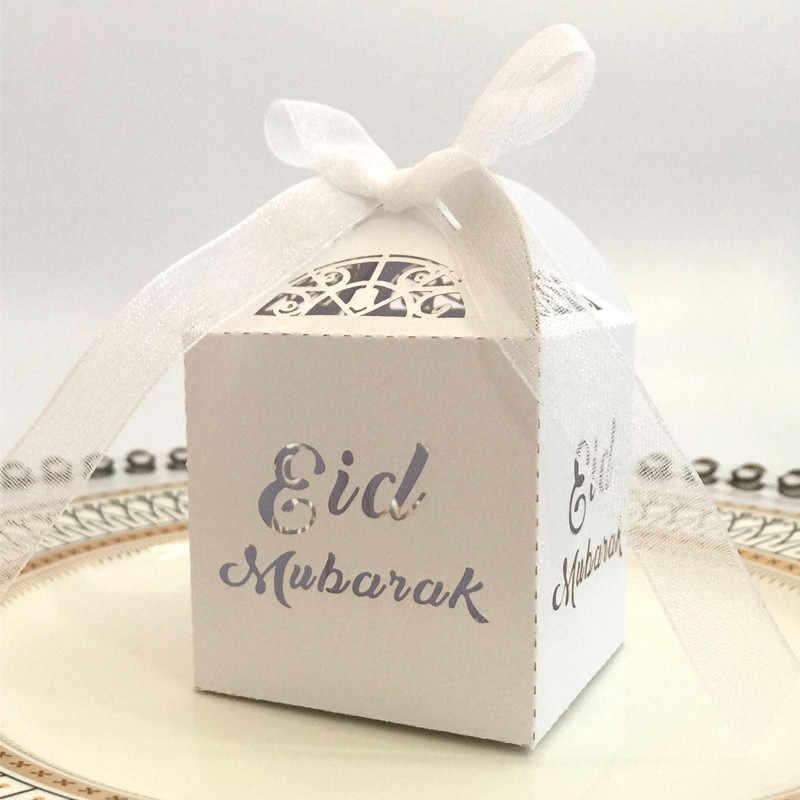 10 pçs eid mubarak doces caixa de presente ramadan decorações festa islâmica decoração diy caixa de papelão dragee embalagem com fita