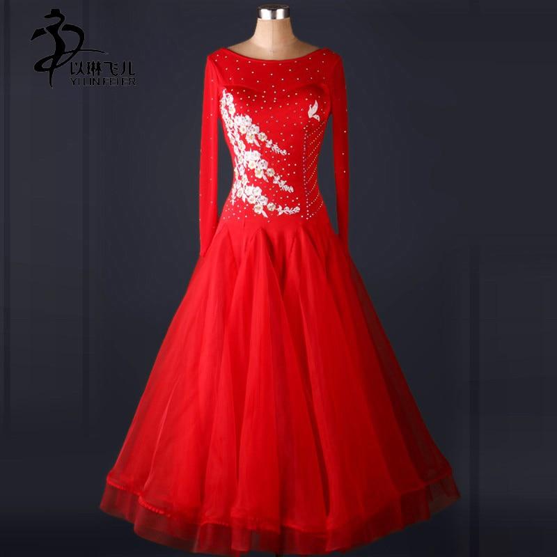 Red/ Purple/ Royalblue Ballroom Dresses Women Waltz Competition Dress Girls Tango Standard Costumes Customized Ballroom Skirt