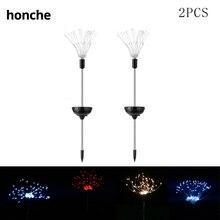 2pcs Landscape festive lighting solar starburst copper 90 fairy LEDs fireworks lights dandelion outdoor garden lamp