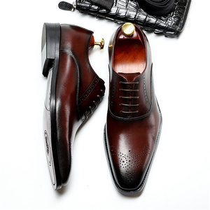 Image 2 - Men Genuine Cow Leather Brogue Wedding Business Mens Casual Flats Shoes 2020 Black Burgundy Vintage Oxford Shoes For Mens Shoe