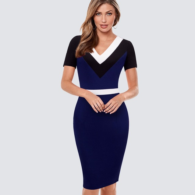 76dfc9e4ebc Femmes Chic stylé Colorblock contraste col en V tunique robe d été élégant  porter au