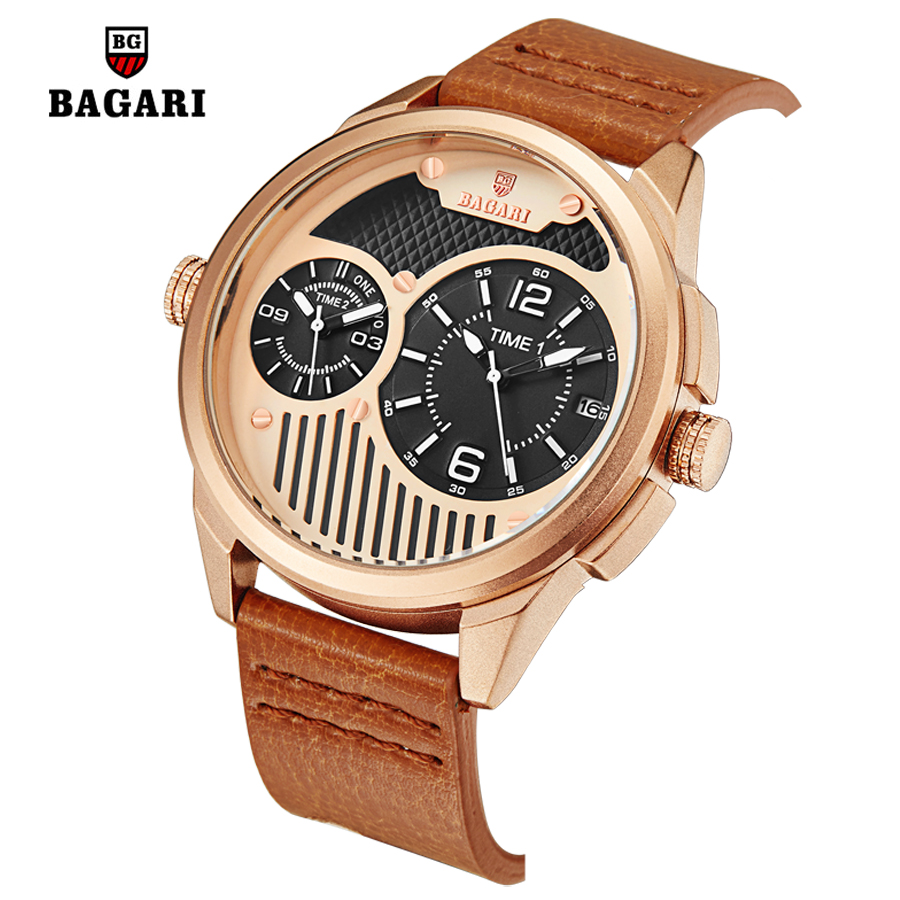 Men Rose Gold Double Quartz Movement Watch Luxury Top Brand Fashion Business Watch Leather Military Male Wrist Watches relogio