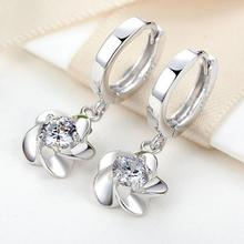 2017 new arrival hot sell fashion plum flower 925 sterling silver ladies`stud earrings jewelry wholesale birthday gift
