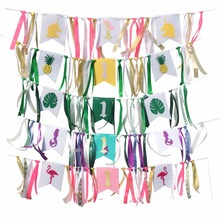 Flamingo pineapple Turtle leaf ribbon dining chair pull flag Wedding Banner Fabric Pennant Garlands Wedding Decoration Part
