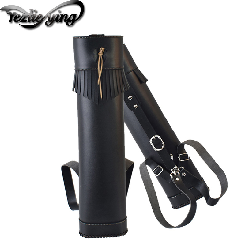 Crossbow Hunting Portable Black PU Leather Archery Quiver Bag  Bow and Arrow Holder Hunting Quiver Bag Bow