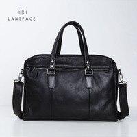 LANSPACE Men S Leather Briefcase Brand High Quality Cow Leather Business Handbag Messenger Bag Men Leather