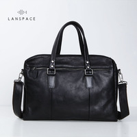 LANSPACE Men S Leather Briefcase Brand High Quality Cow Leather Business Handbag Messenger Bag Men Leather