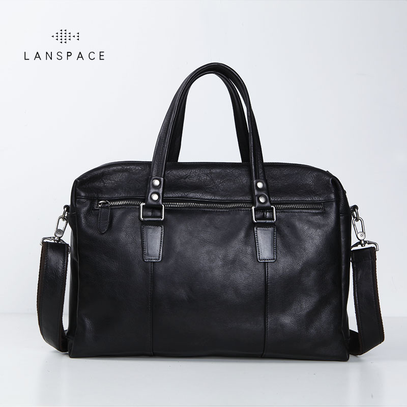 LANSPACE Men's Leather Briefcase Brand High Quality Cow Leather Business Handbag Messenger Bag Men Leather