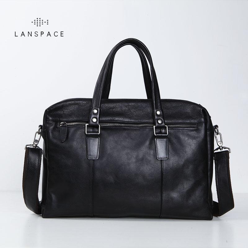 LANSPACE Men's Leather Briefcase Brand High Quality Cow Leather Business Handbag Messenger Bag Men Leather